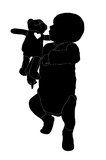 Silhouette of a baby boy with a teddy bear. Silhouette of a 2 months old baby boy with a teddy bear next to him Vector Illustration