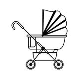 Silhouette baby carriage with layette Stock Image