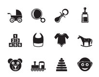 Silhouette baby and children icons Stock Photos