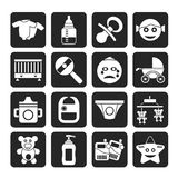 Silhouette Baby, children and toys icons Stock Image