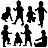 Silhouette baby, collection, isolated.  Stock Image