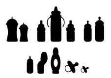 Silhouette of baby milk bottle,Vector illustrations Stock Images