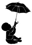 Silhouette baby and umbrella Stock Images