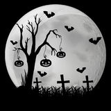 Silhouette background with bats in graveyard Stock Images