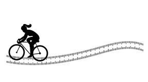 Silhouette background with female cycling Stock Photo