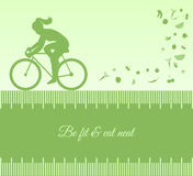 Silhouette background with female cycling Stock Image