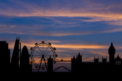 Silhouette background of London city skyline Stock Photography