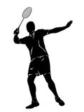 Silhouette of badminton player Stock Photo
