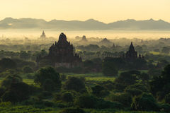 Silhouette of Bagan pagodas and temples at sunrise, Mandalay, My Royalty Free Stock Photo