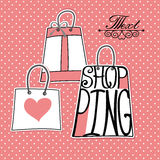 Silhouette of bags from words .I love shopping. Typography bags Design.Silhouette of bags from words on polka dot background .The message I love shopping .Cute royalty free illustration