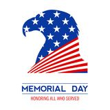 Memorial day in the United States. Vector layout for greeting cards, banners, posters. Silhouette of Bald Eagle and USA flag on a white background. Vector Royalty Free Stock Photography