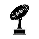 Silhouette ball trophy shape american football award Royalty Free Stock Image
