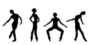 Silhouette of ballerin. Black silhouette of ballerin on a white background royalty free illustration