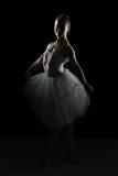 Silhouette Of Ballerina In The Black Studio Royalty Free Stock Photo