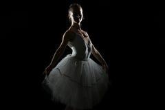 Silhouette Of Ballerina In The Black Studio Stock Photography