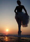 Silhouette of a ballet girl Stock Photos