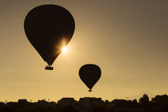 Silhouette of balloons over sunrise in Cappadocia, Turkye Royalty Free Stock Photography