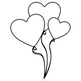 Silhouette balloons set in heart shape design. Illustration Stock Photography