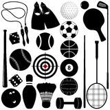 Silhouette of Balls, other exercise equipments Stock Photos
