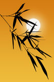 Silhouette of Bamboo Leaves Royalty Free Stock Images