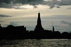 Silhouette of Bangkok temple of Dawn. Silhouette background image of the Bangkok temple of Dawn Royalty Free Stock Photos