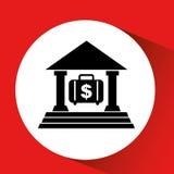 Silhouette bank building portfolio money orange background Royalty Free Stock Images