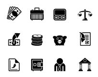 Silhouette Bank, business and finance icons Stock Photos