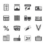 Silhouette bank, business, finance and office icons. Vector icon set Stock Photography