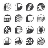 Silhouette bank, business, finance and office icons Royalty Free Stock Photos