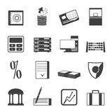 Silhouette bank, business, finance and office icons. Vector icon set Royalty Free Stock Images