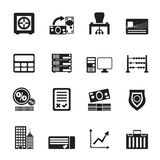 Silhouette bank, business, finance and office icons. Vector icon set Stock Photo