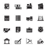 Silhouette bank, business, finance and office icons Stock Images