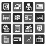 Silhouette bank, business, finance and office icons. Vector icon set Stock Illustration