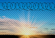 Silhouette of barbed wire Stock Photography