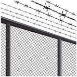 Silhouette of the barbed wire and fences Stock Images