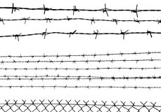 Silhouette of the barbed wire isolated on white,  Stock Photography