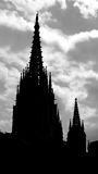Silhouette of Barcelona Cathedral Stock Images
