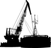 Silhouette of the barge and the floating crane in. Illustration silhouette of the barge and the floating crane in port Stock Photos