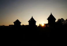 Silhouette of Barong Temple Stock Images