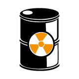 Silhouette barrels with radioactive materials Royalty Free Stock Photography