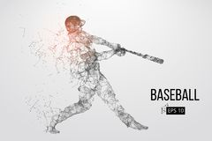 Silhouette of a baseball player. Vector illustration. Silhouette of a baseball player. Dots, lines, triangles, text, color effects and background on a separate vector illustration