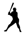 Silhouette of a baseball player Stock Image