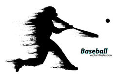 Silhouette of a baseball player. Vector illustration Stock Photography