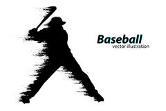Silhouette of a baseball player. Vector illustration Royalty Free Stock Photography