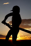 Silhouette baseball swing beginning sunset Stock Images