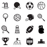 Silhouette Basics Sports equipment Icons Vector symbol set Royalty Free Stock Photos