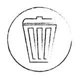 Silhouette basket care environment icon. Illustration Stock Photo