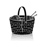 Silhouette basket of rolls of yarn for knitting with reflection Royalty Free Stock Images