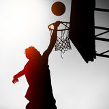 Silhouette of Basketbal Player Royalty Free Stock Photography