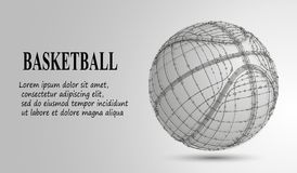 Silhouette of a basketball ball. Dots, lines, triangles, text, color effects and background on a separate layers, color can be cha Royalty Free Stock Image